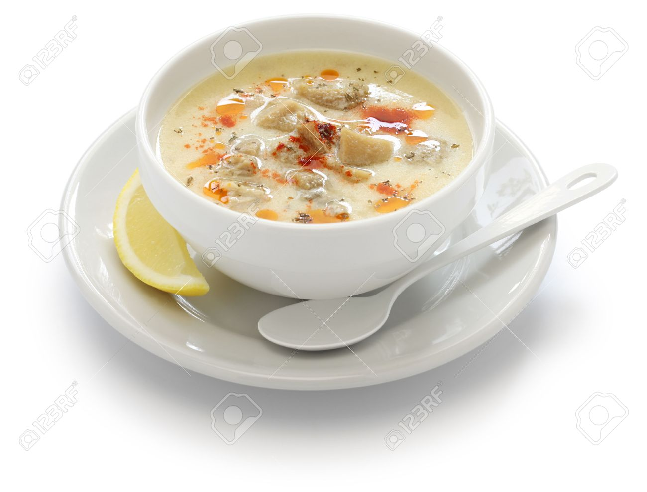 Turkish traditional tripe soup on rustic background with wooden ...