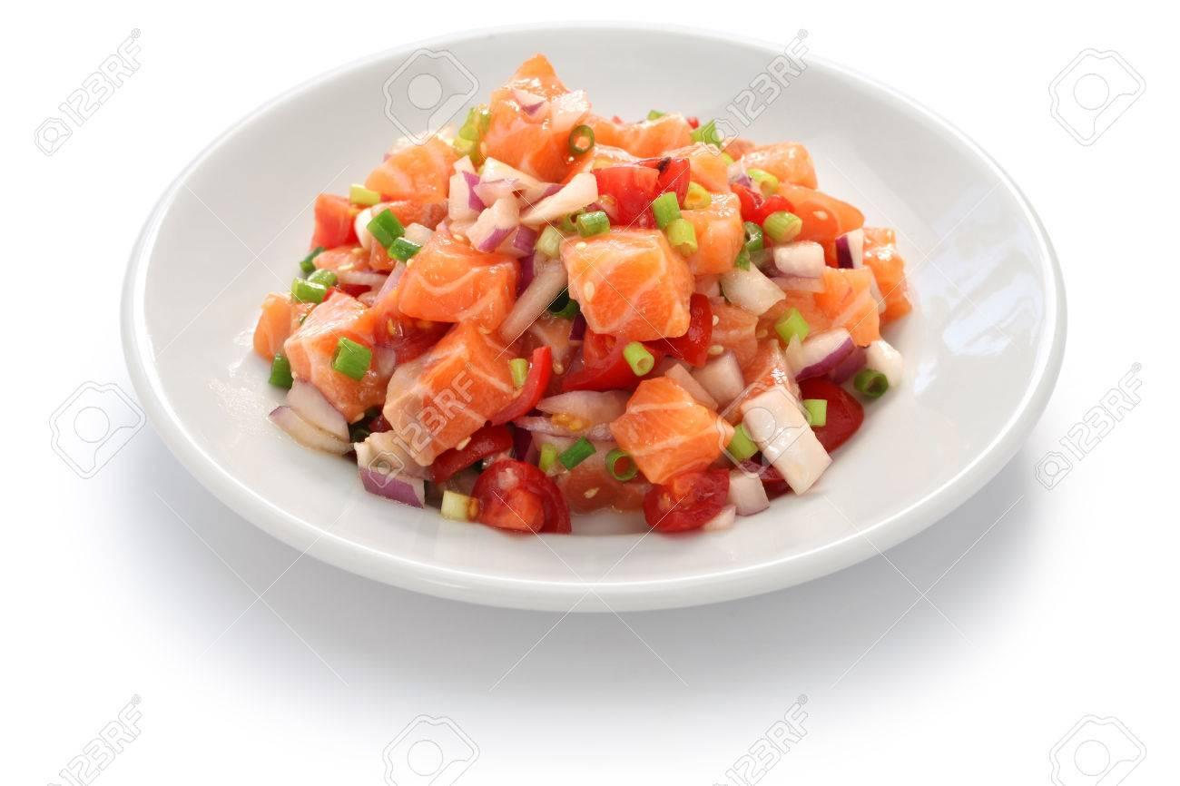 Lomi lomi salmon, hawaiian raw salmon salad Stock Photo - 45059149