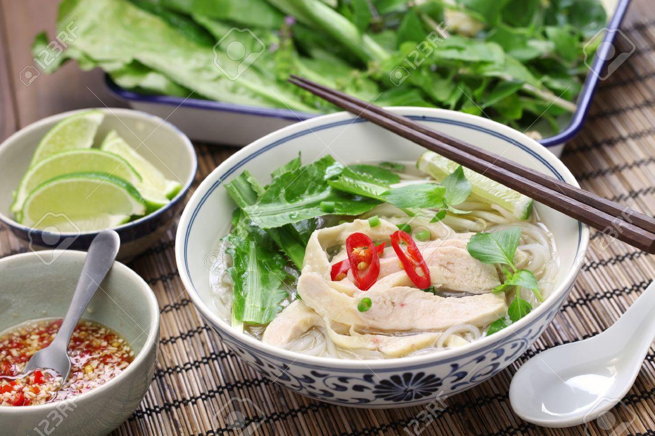 PHO ga, vietnamese chicken rice noodle soup Stock Photo - 48693255