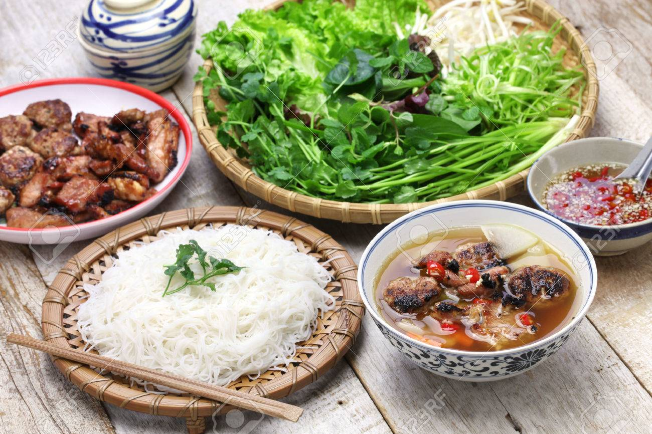 bun cha, grilled pork rice noodles and herbs and vietnamese cuisine Stock Photo - 51246529