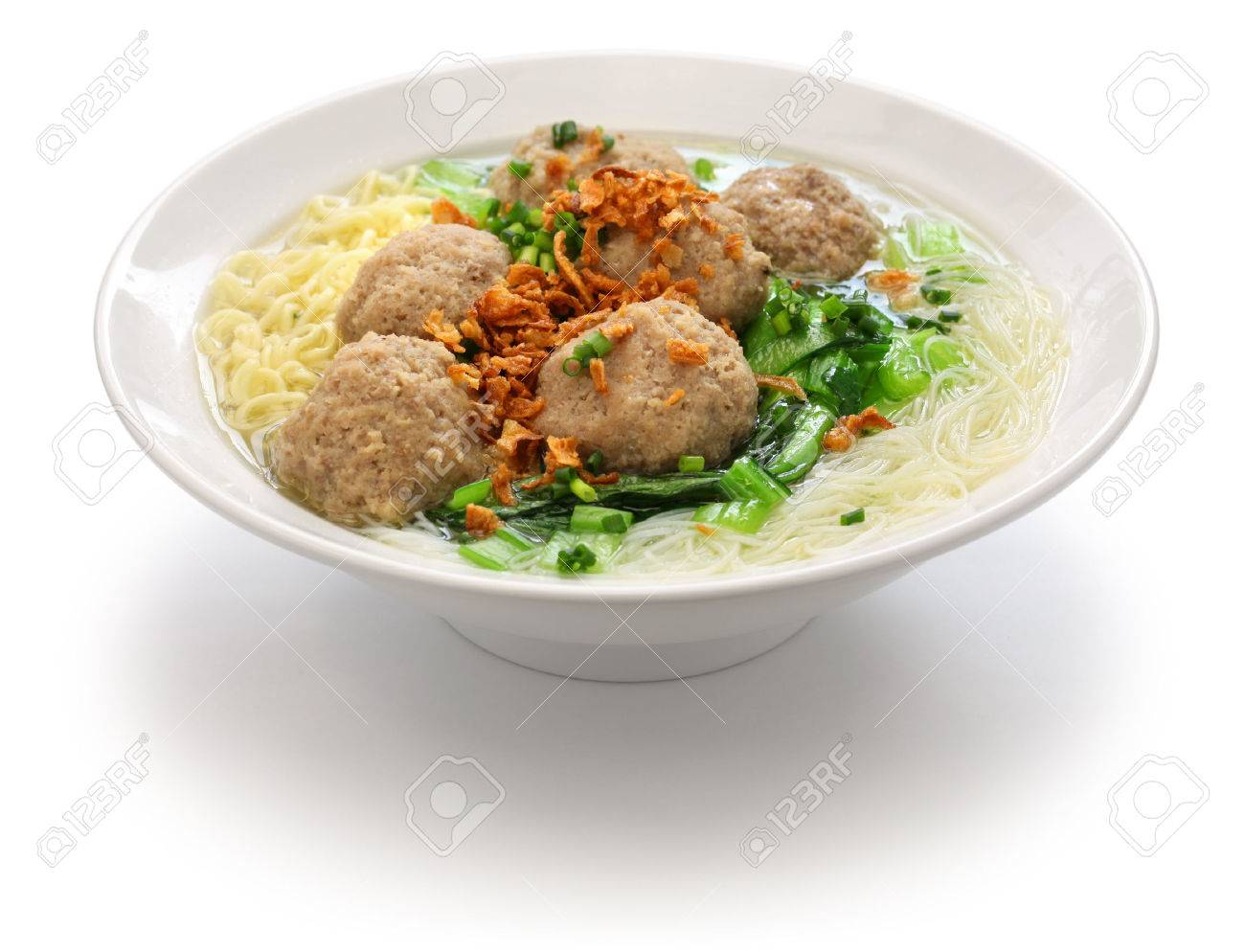 meatball soup with noodles, bakso and indonesian cuisine Stock Photo - 51319082