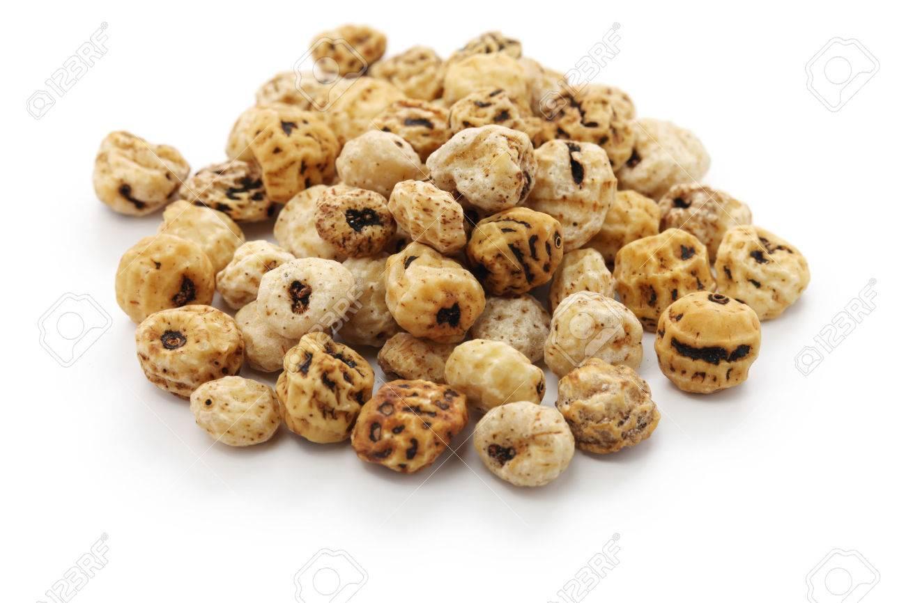 Tiger nuts, spanish chufa, superfoods isolated on white background Stock Photo - 52161010