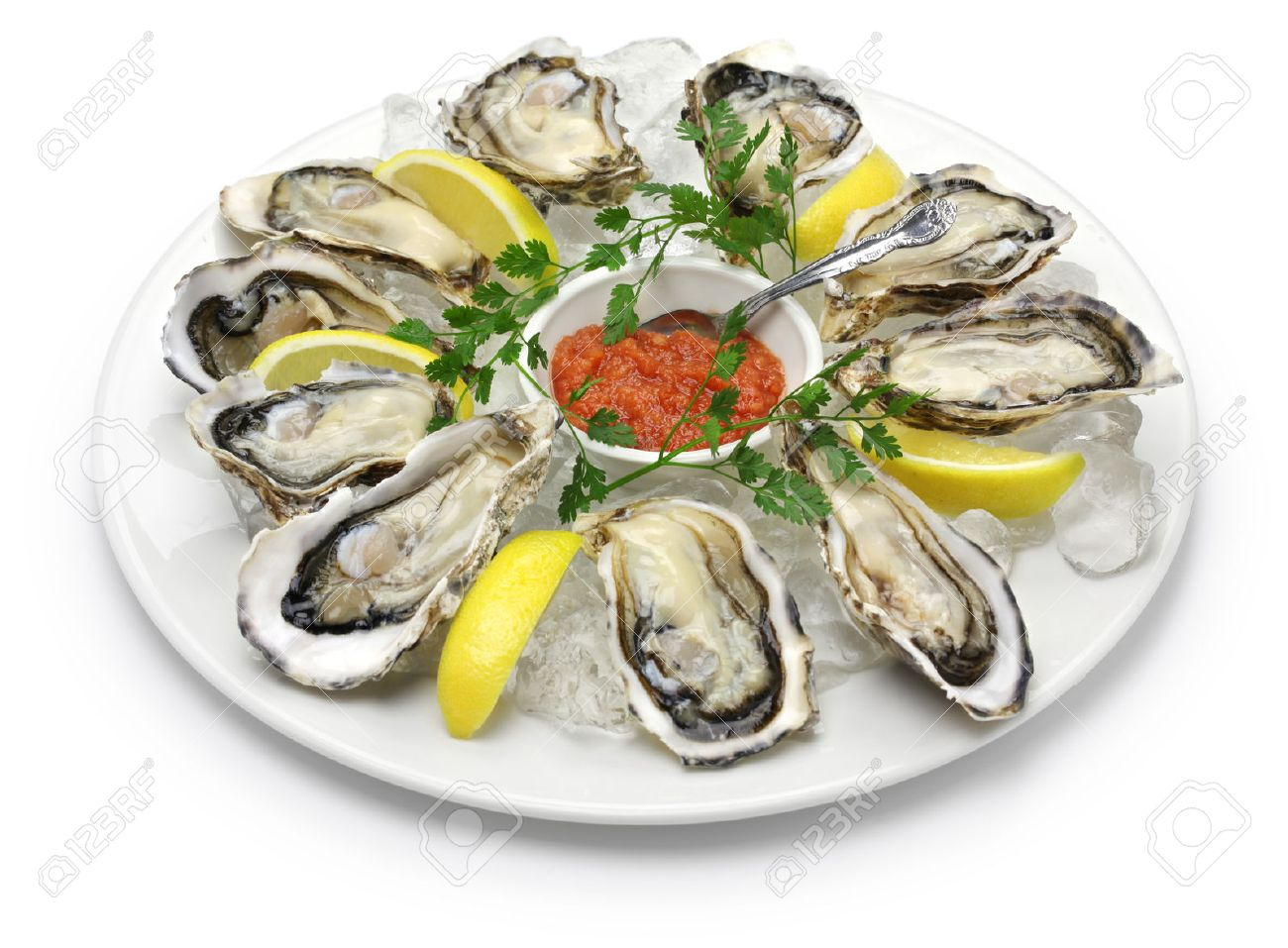 fresh oysters plate isolated on white background Stock Photo - 52381934