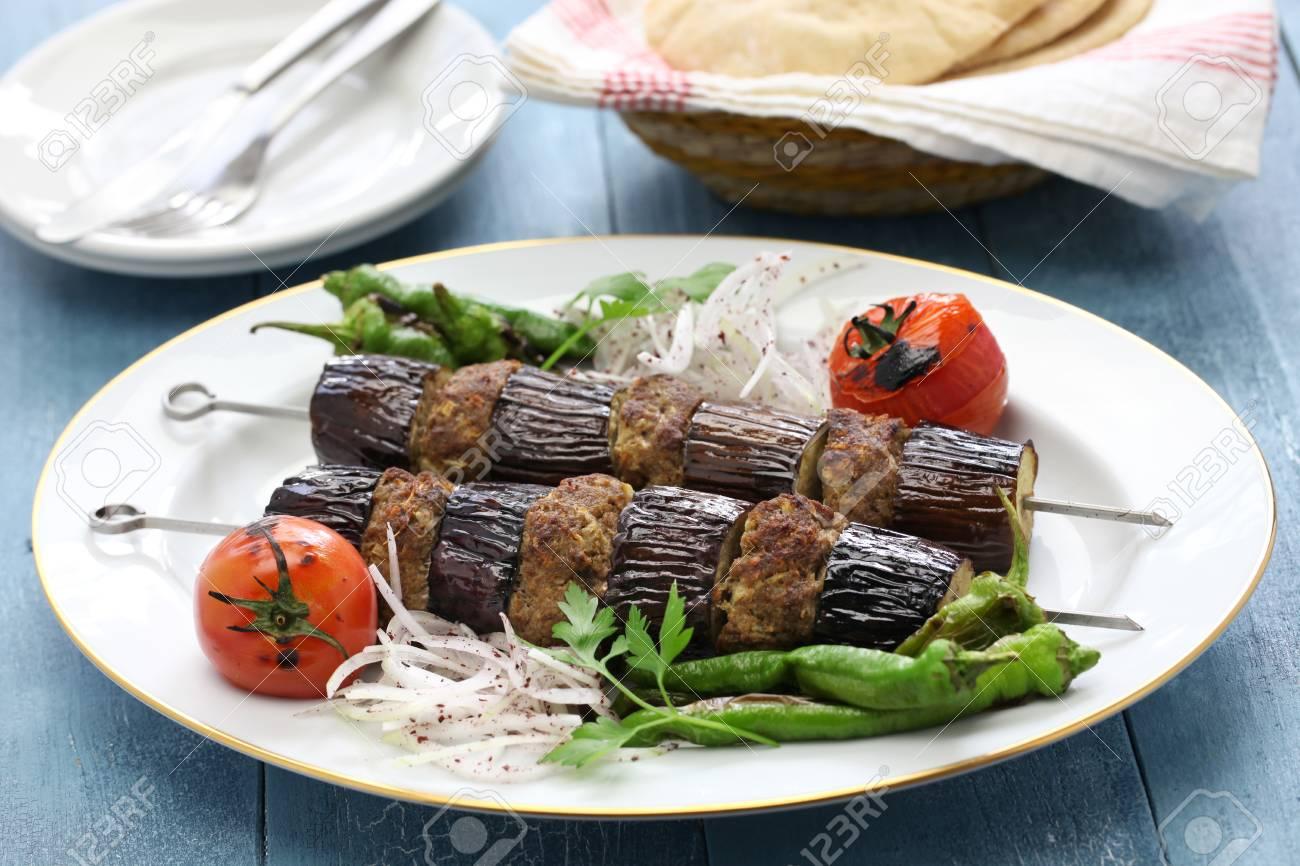 Eggplant Kebab, Patlican Kebab And Turkish Cuisine Stock Photo ...