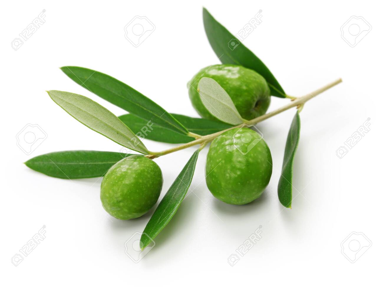 Green olives with leaves isolated on white - 132009766