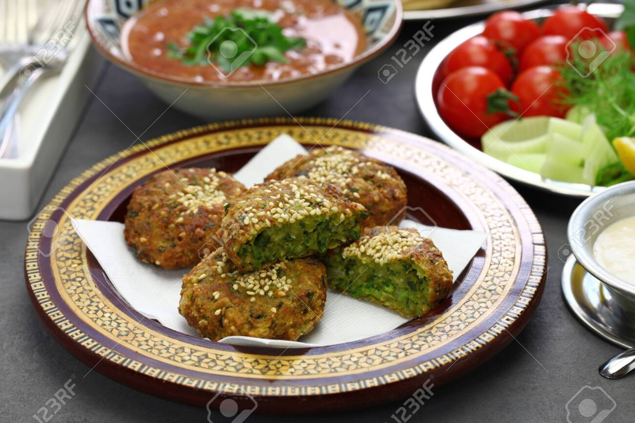 Egyptian Food (taameya, Aish, Tahini, Ful Medames) Stock Photo, Picture And  Royalty Free Image. Image 136711138.