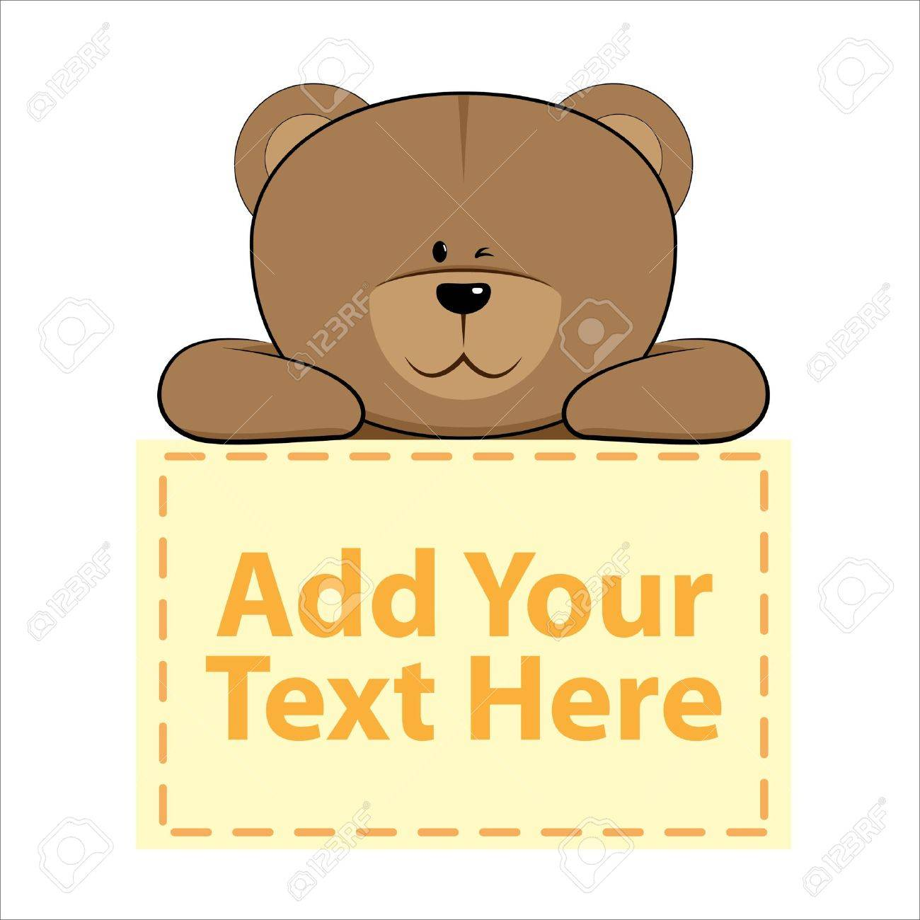cute bear with banner below it Stock Vector - 13966312