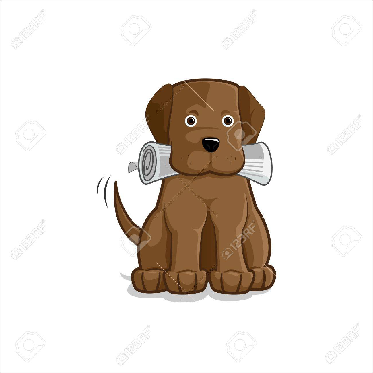 Brown labrador dog brings a newspaper in his mouth Stock Vector - 14187977