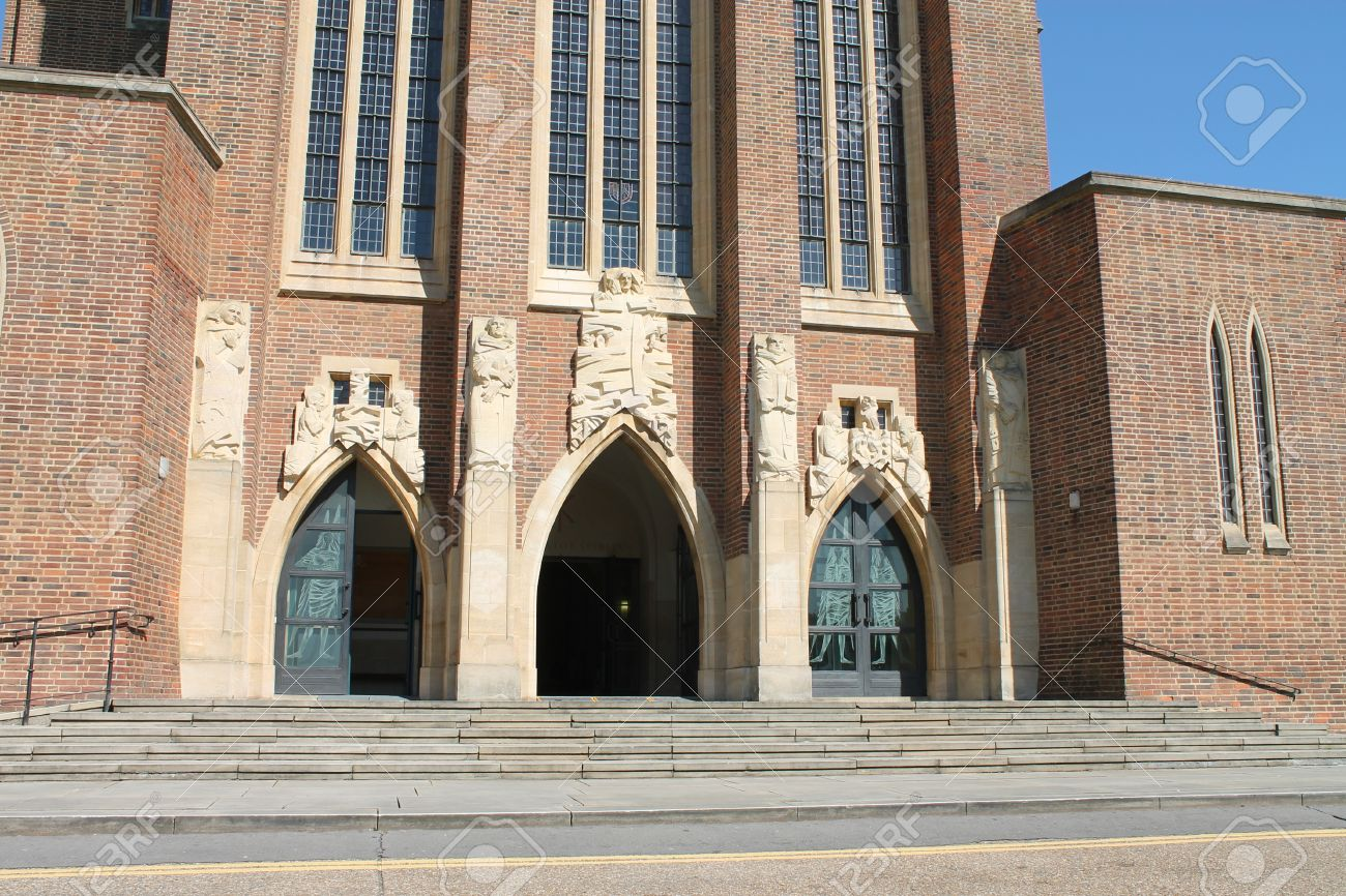 Gothic shape doors at Guildford Cathedral Stock Photo - 13842899 & Gothic Shape Doors At Guildford Cathedral Stock Photo Picture And ...