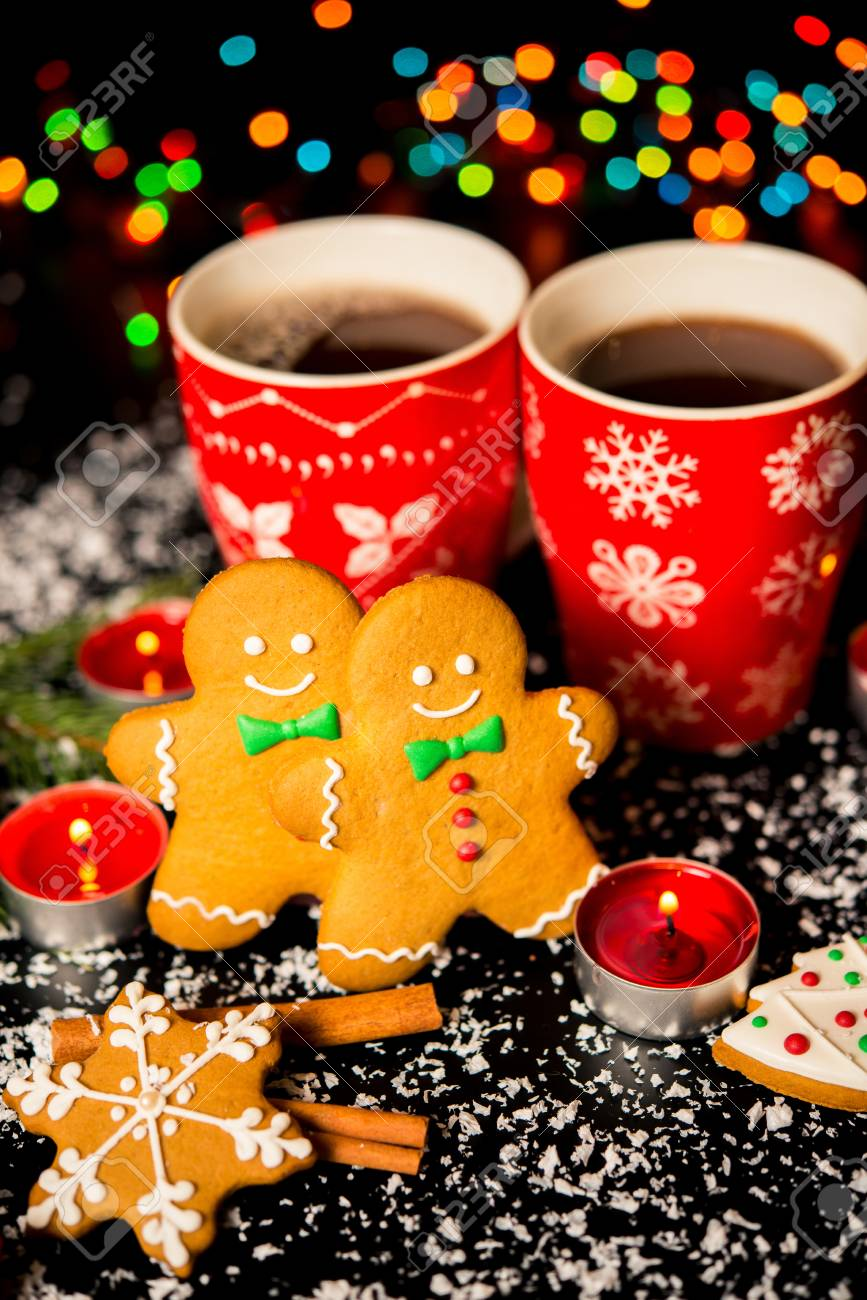christmas card gingerbread man gingerbread christmas decor snow candles cup with