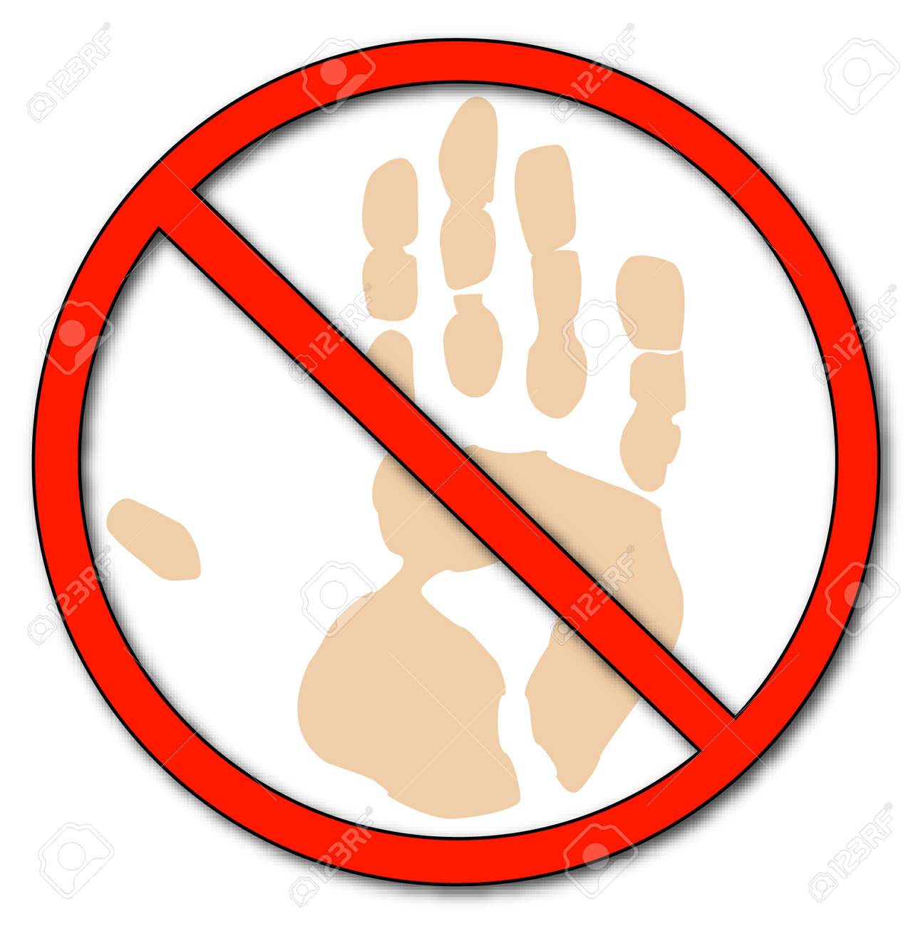 hand print with not allowed - don't touch - vector Stock Vector - 2516367