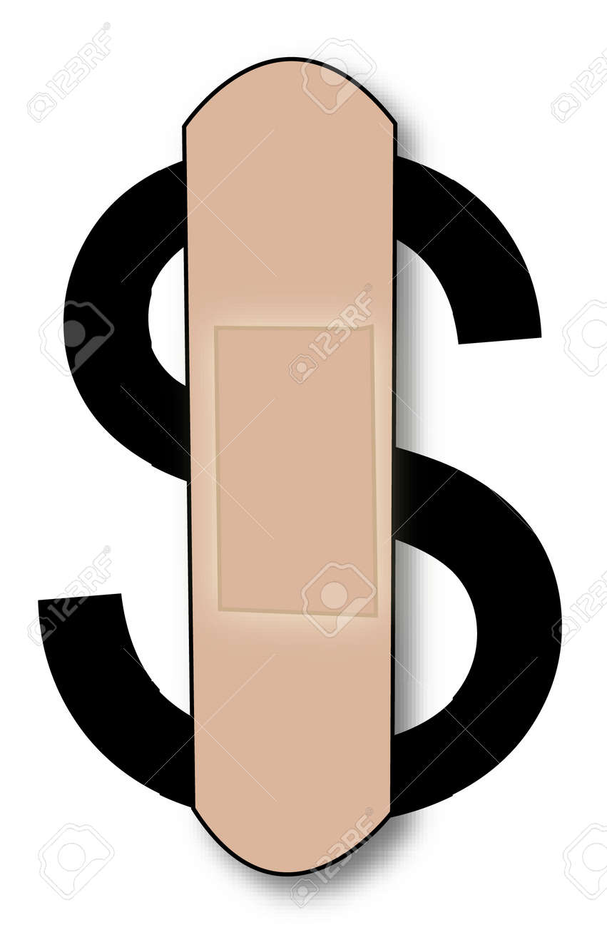 dollar sign with plaster on it - concept of bleeding dollar - vector Stock Vector - 2530883