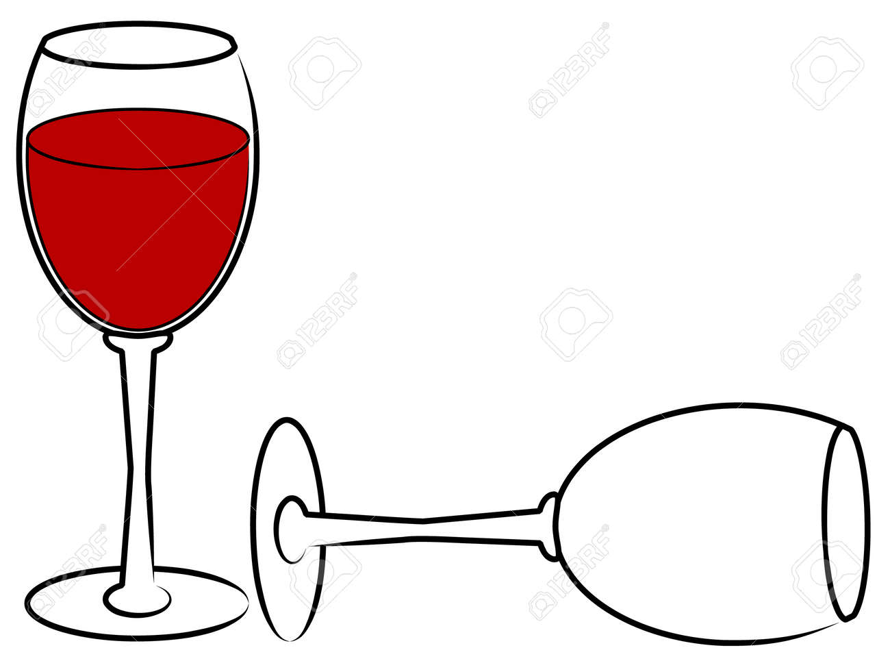 Two Wine Glasses - One Full And One Empty - Vector Royalty Free ...