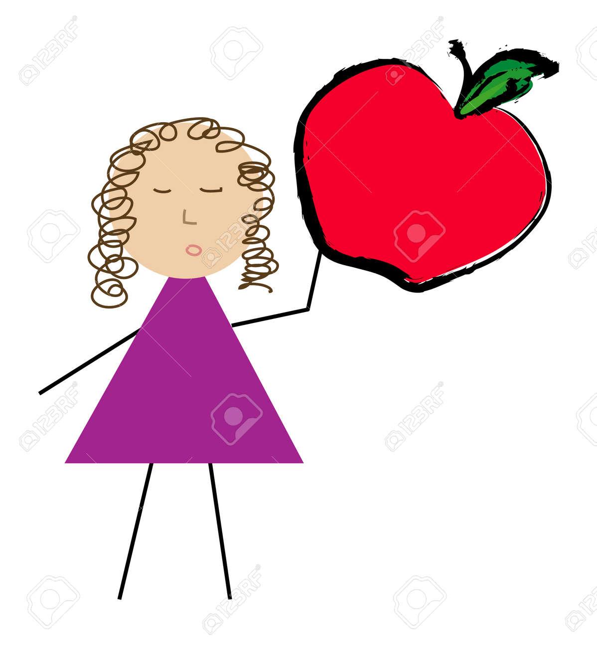 teacher holding apple clipart. teacher or woman holding up apple - vector stock 2603218 clipart r