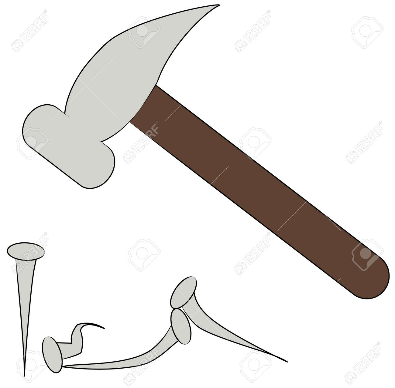 hammer striking nail with several broken - vector Stock Vector - 2612519