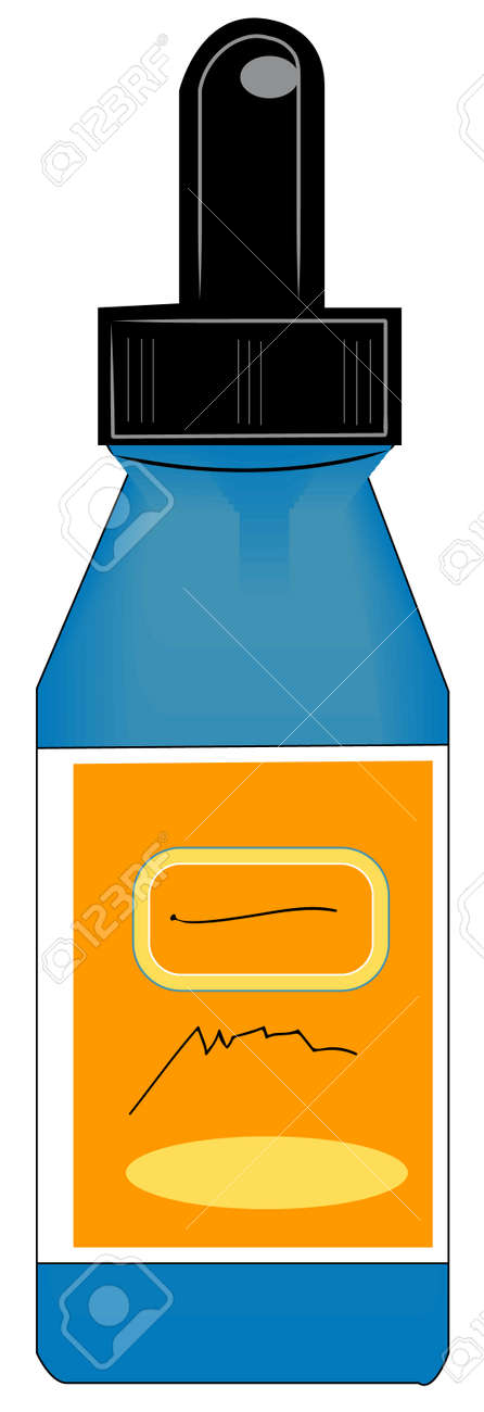 eye dropper style bottle with orange label - vector Stock Vector - 2642207