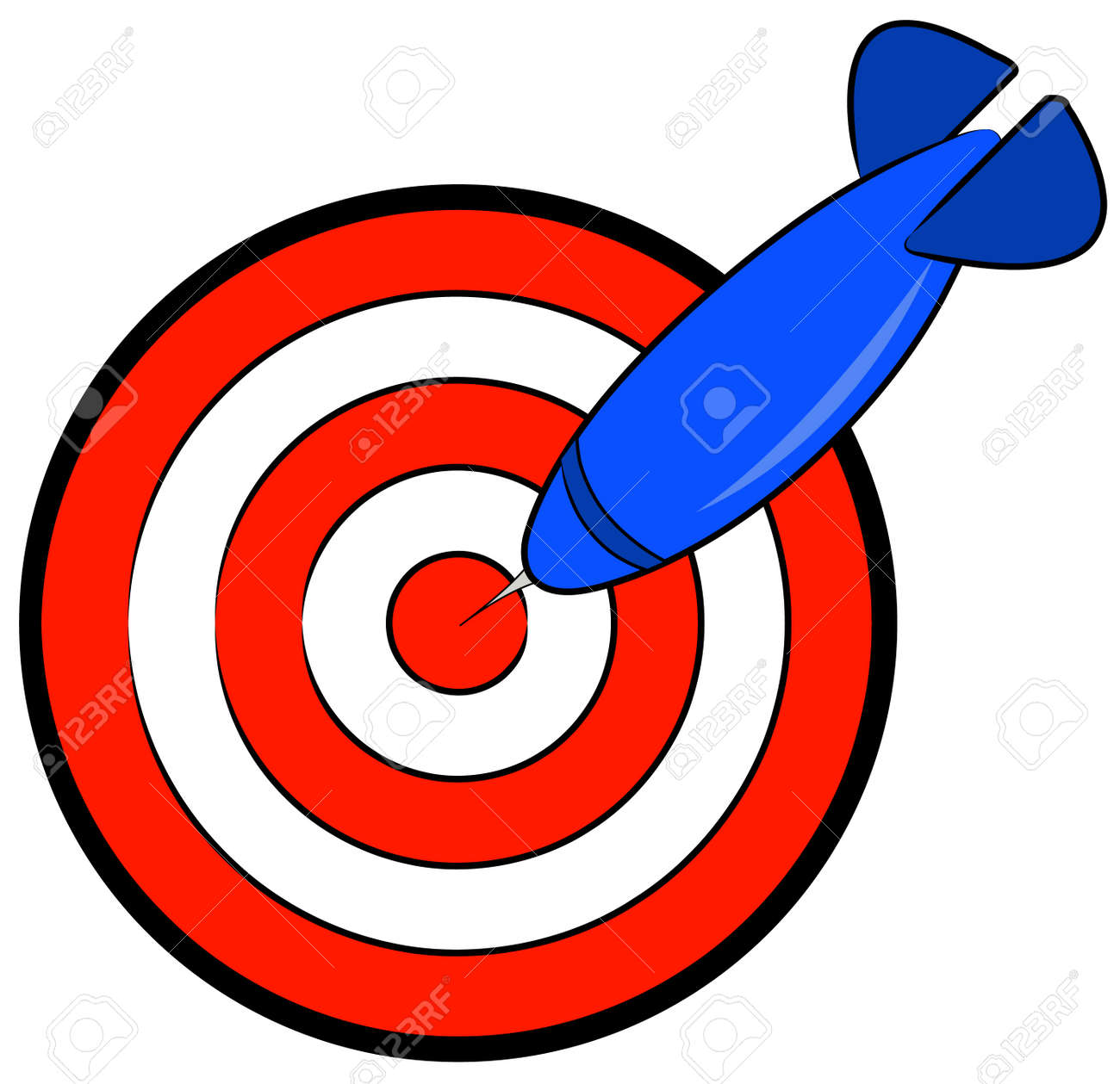red and white bullseye with blue dart hitting target - vector Stock Vector - 2656141