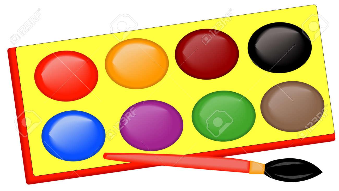 Bandeja De Pintura Para Niños Y Pincel En Colores Brillantes ...