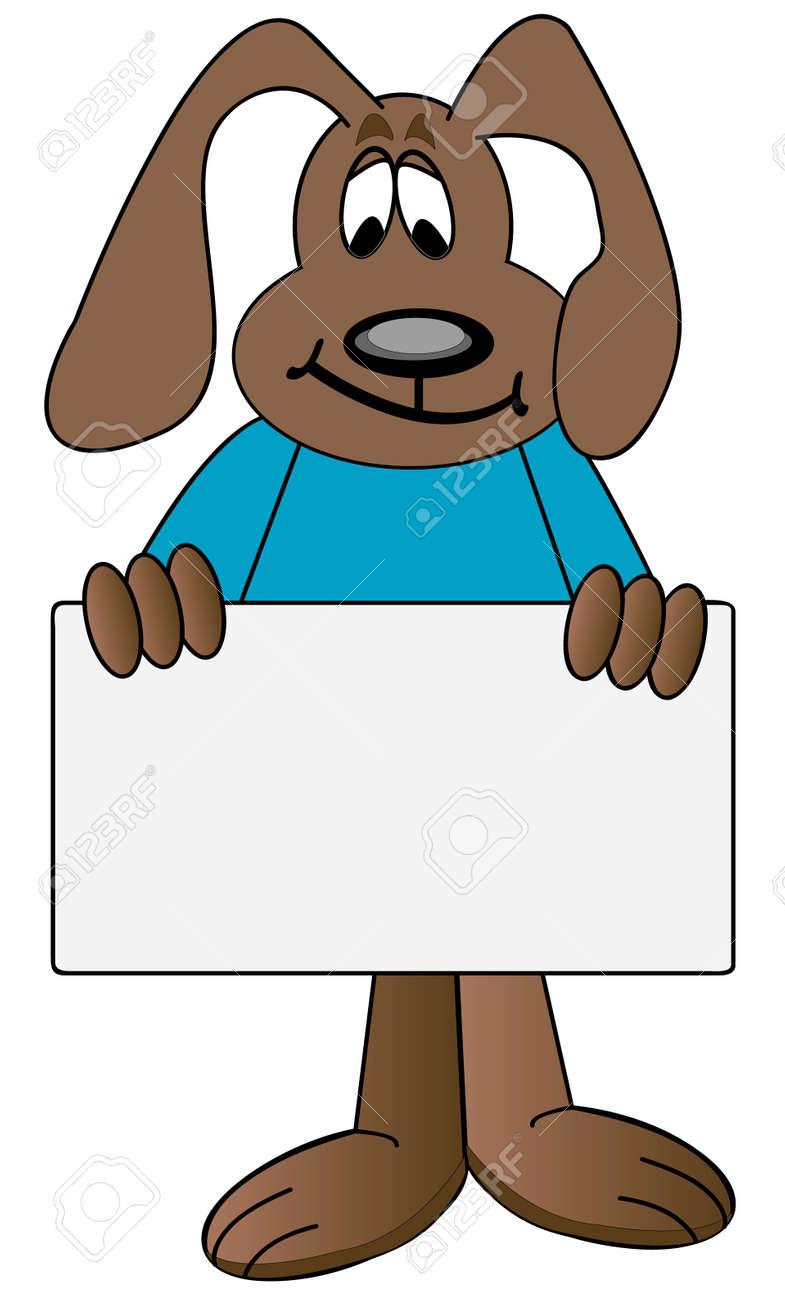 dog cartoon holding up blank sign - vector Stock Vector - 2672761
