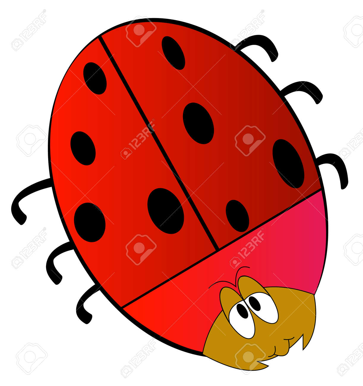 cartoon of red lady bug isolated on white - vector Stock Vector - 2704141