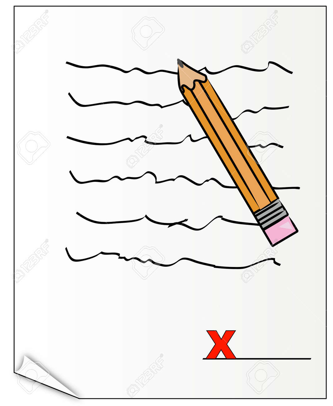 signing on the x on official document - vector Stock Vector - 2733736
