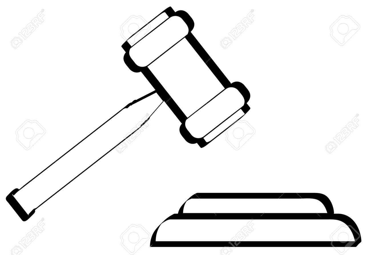 outline of gavel hammer of judge or auctioneer vector royalty rh 123rf com