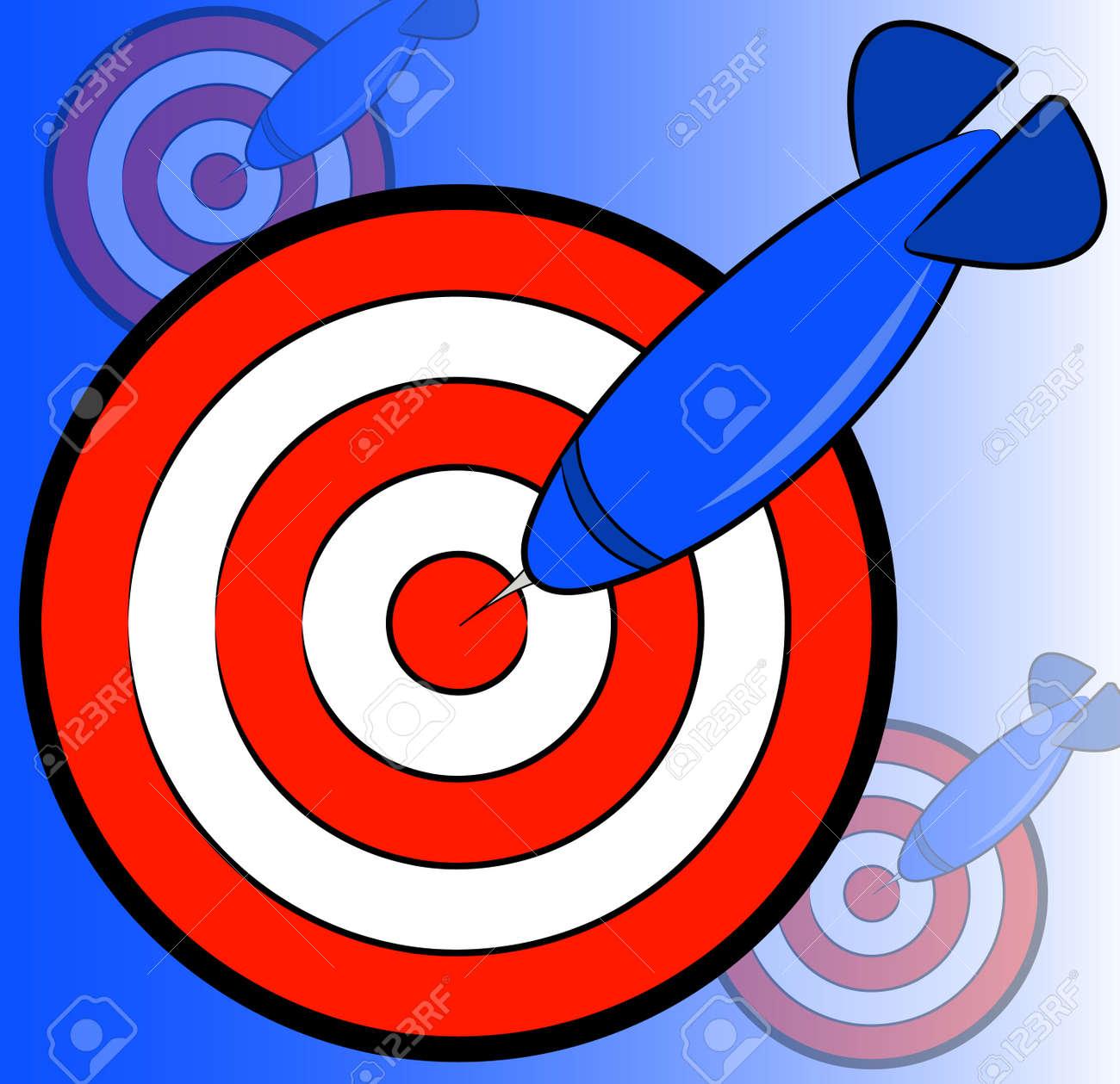 dart and bullseye background on blue - hitting the target - vector Stock Vector - 2752115