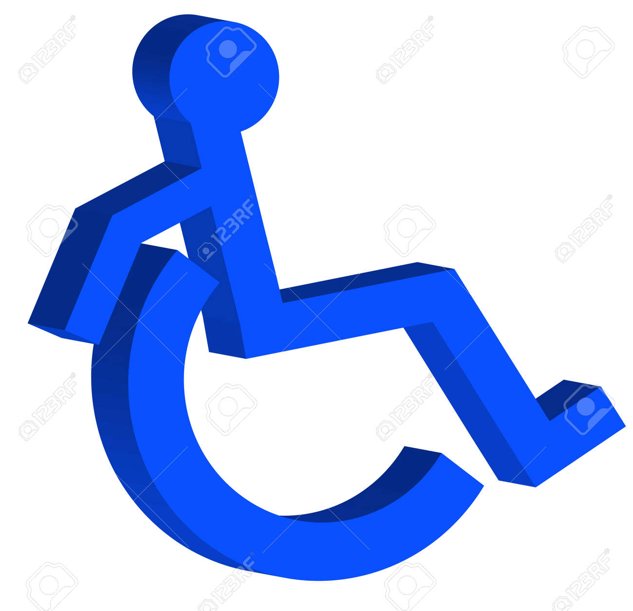 3d handicap or wheelchair accessible symbol on the move vector