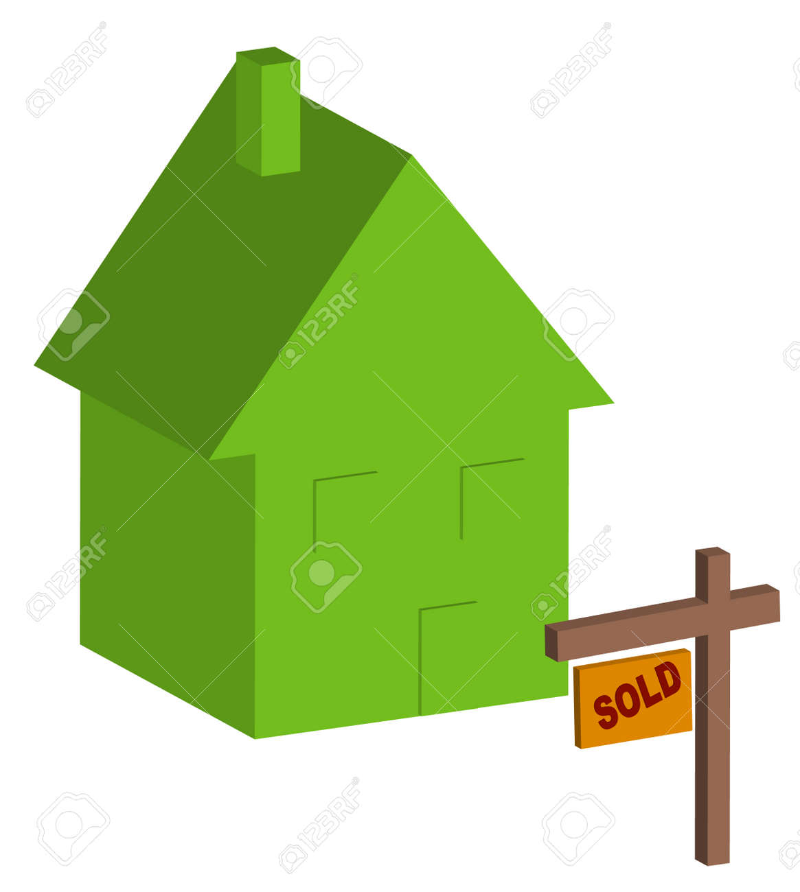 3d house with sold sign out front - vector Stock Vector - 2757529