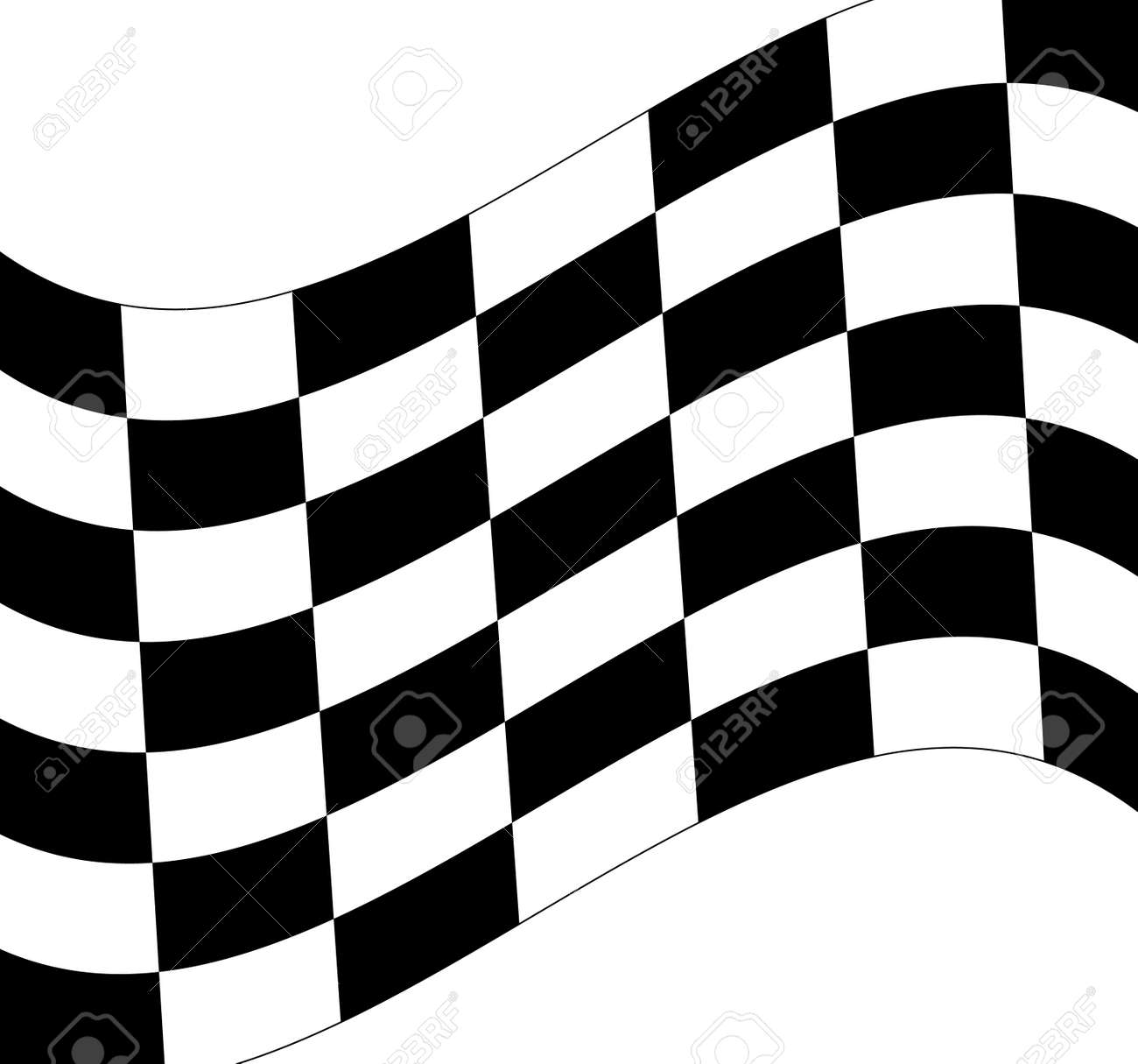 Waving black and white checkered flag on white background vector stock vector 2802312