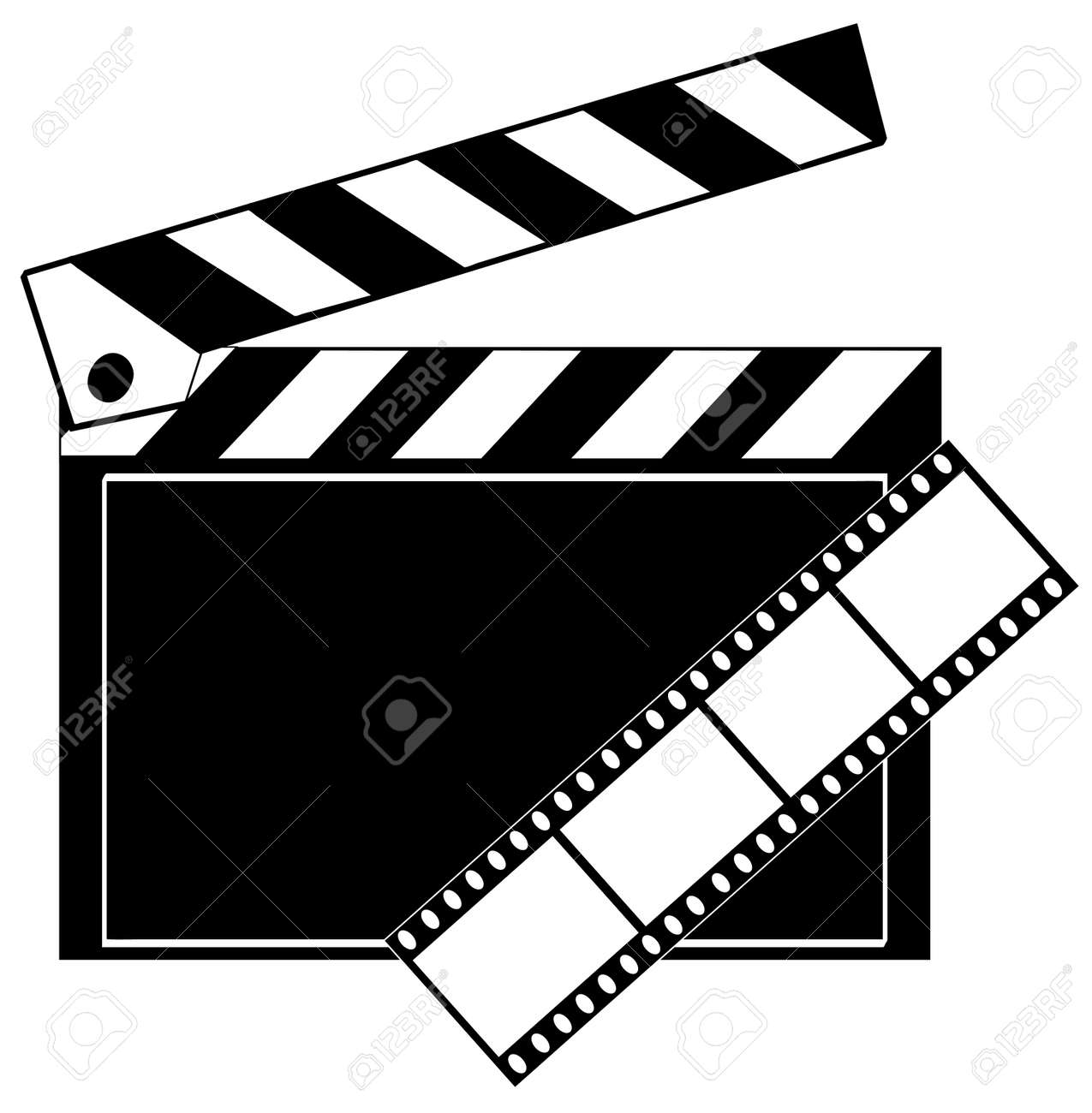 movie film strip and clapboard in black and white - vector Stock Vector - 2805502