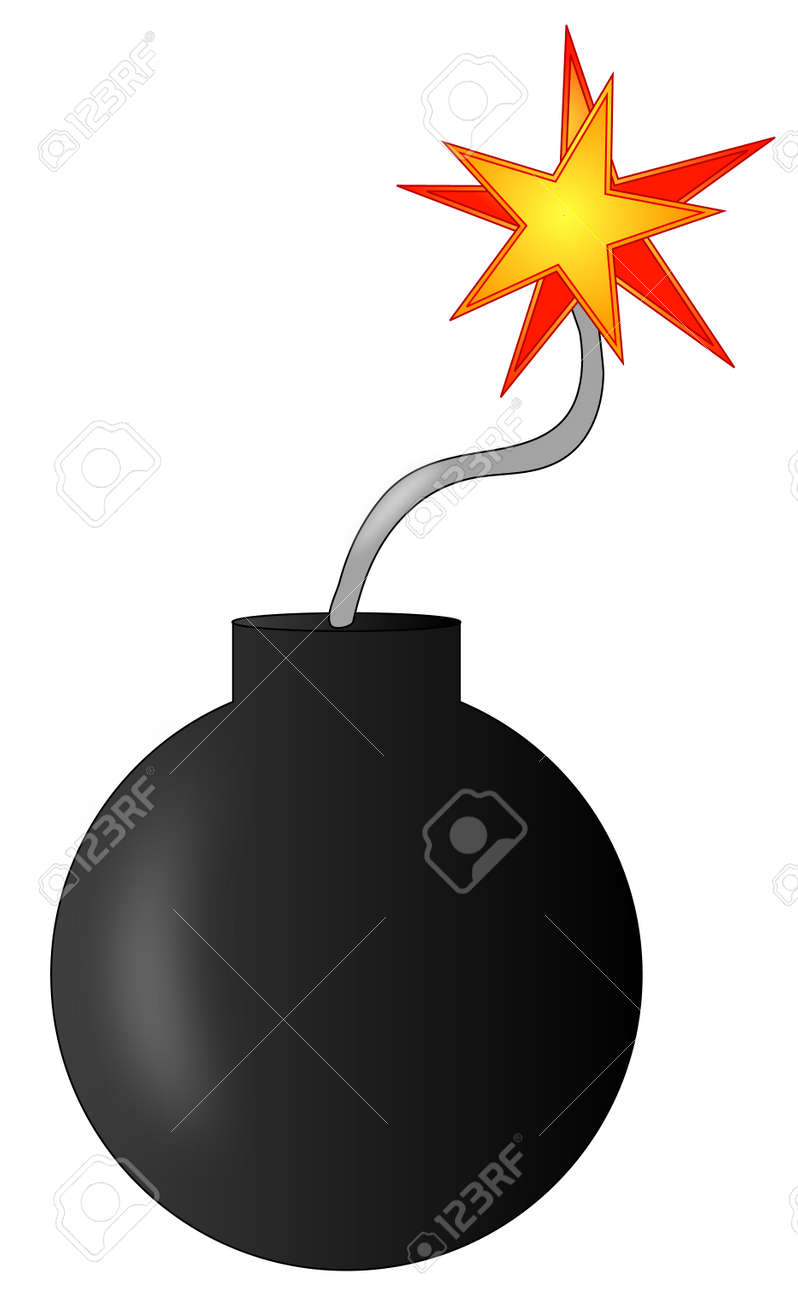 explosive bomb with burning fuse - ready to explode - vector Stock Vector - 2818822