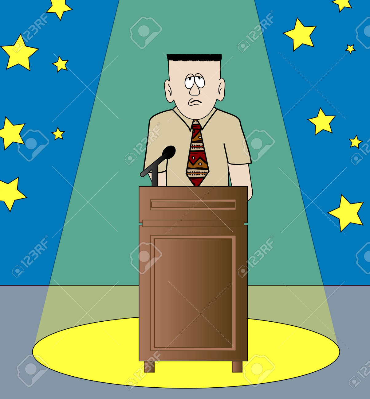 shy or nervous man giving speech standing in the spotlight - vector Stock Vector - 2824841