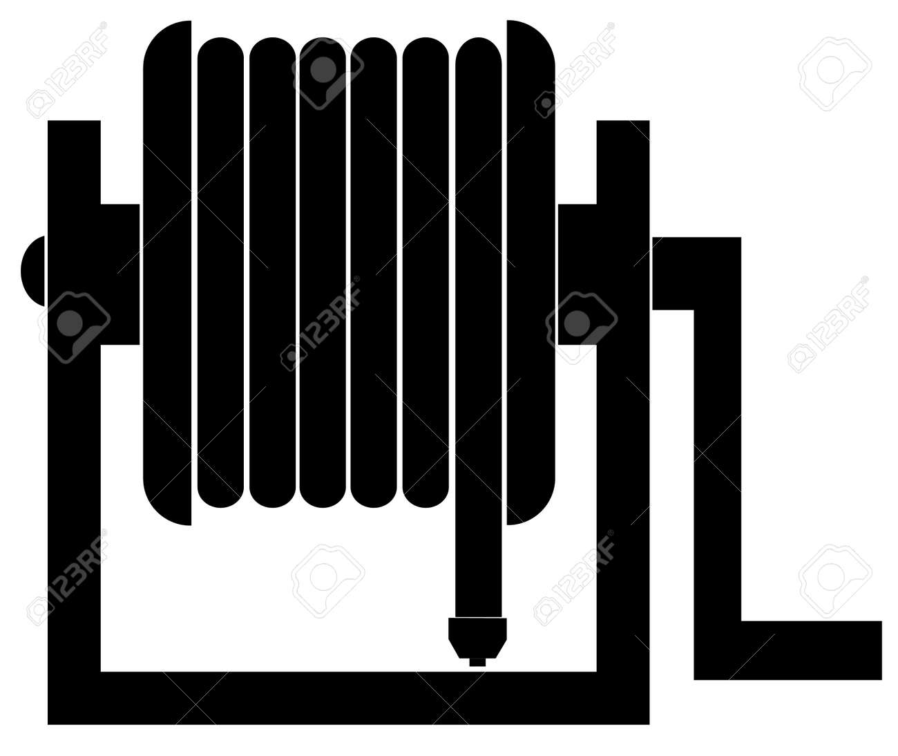 Silhouette Of Black Garden Hose Reel Vector Royalty Free