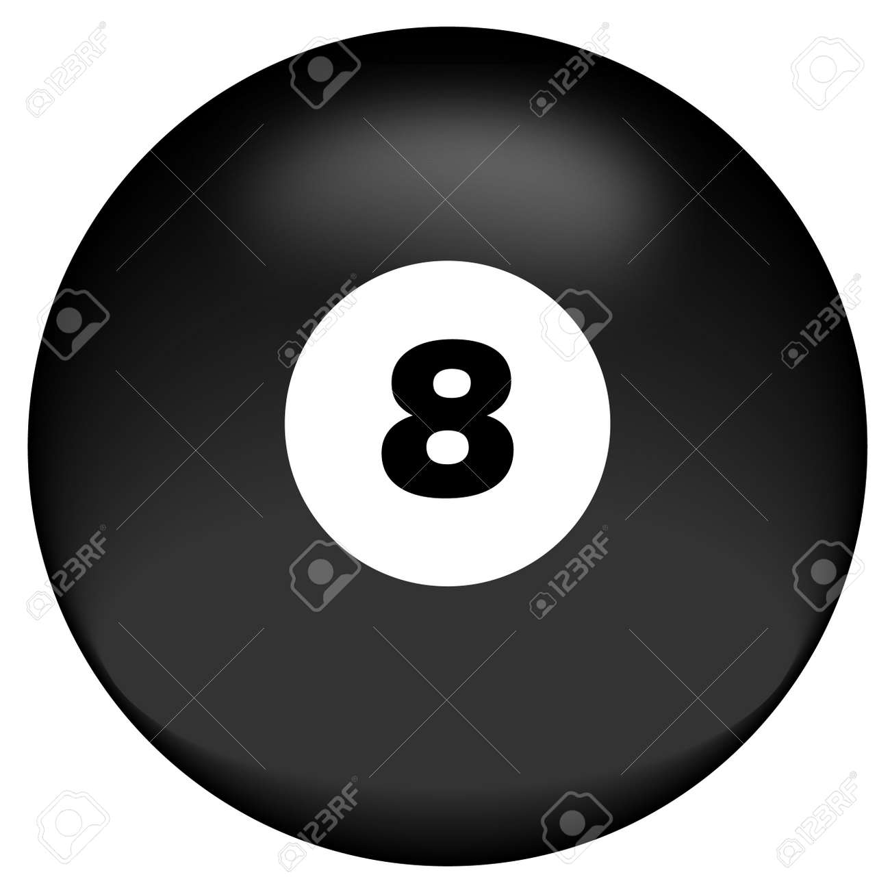 black eight ball on white background - behind the eight ball - vector Stock Photo - 2854222