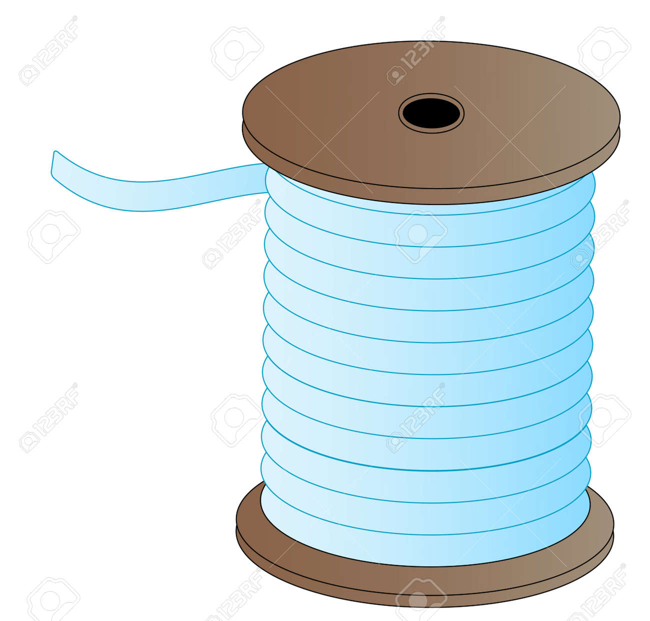 Spool Of Blue Thread On Wooded Spool - Vector Royalty Free Cliparts ...