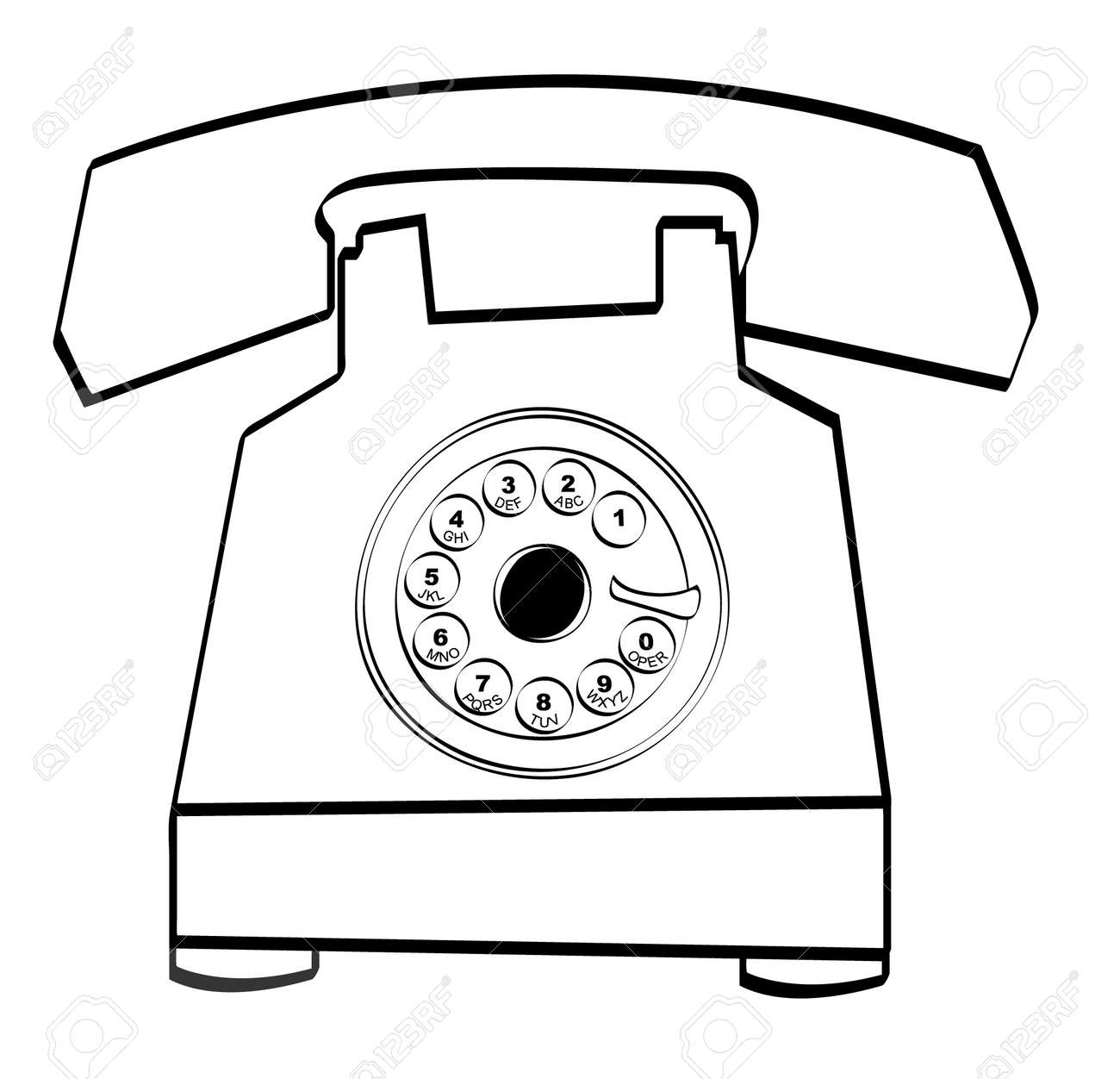 black outline of retro rotary style telephone vector royalty