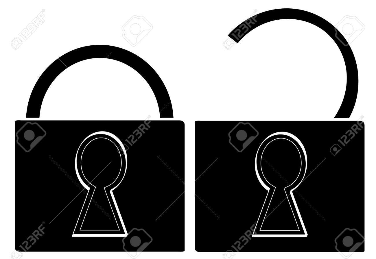 black silhouette of pad locks opened and closed - vector Stock Vector - 2880330