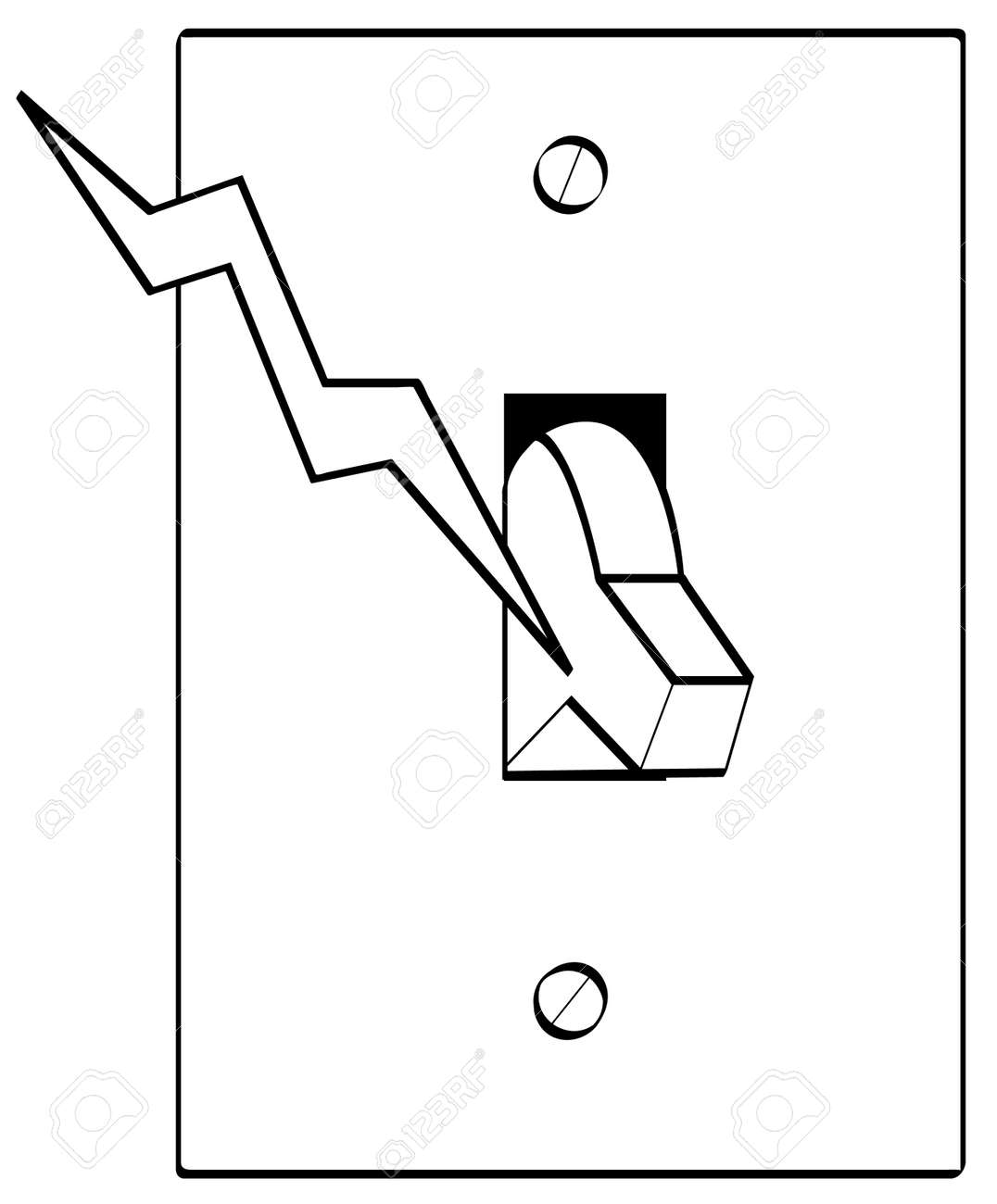 light switch clipart black and white. outline of electrical light switch with bolt electricity vector stock 2893754 clipart black and white