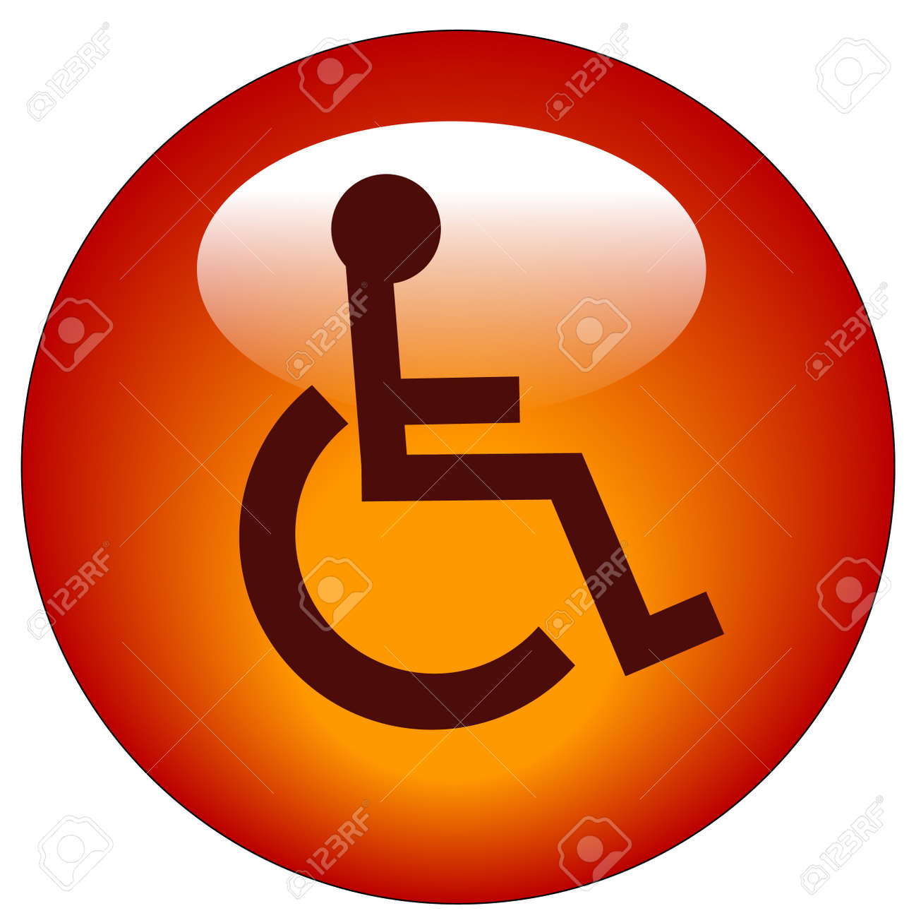 Red Button Or Icon With Handicap Symbol Of Accessibility - Vector ...