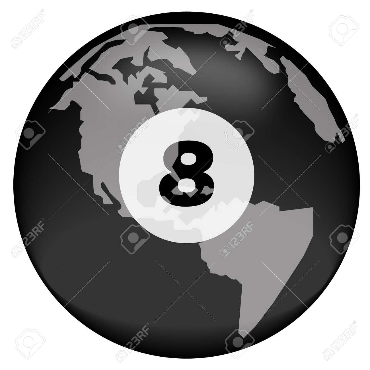 earth or globe with eight ball overlay - vector Stock Photo - 2930911