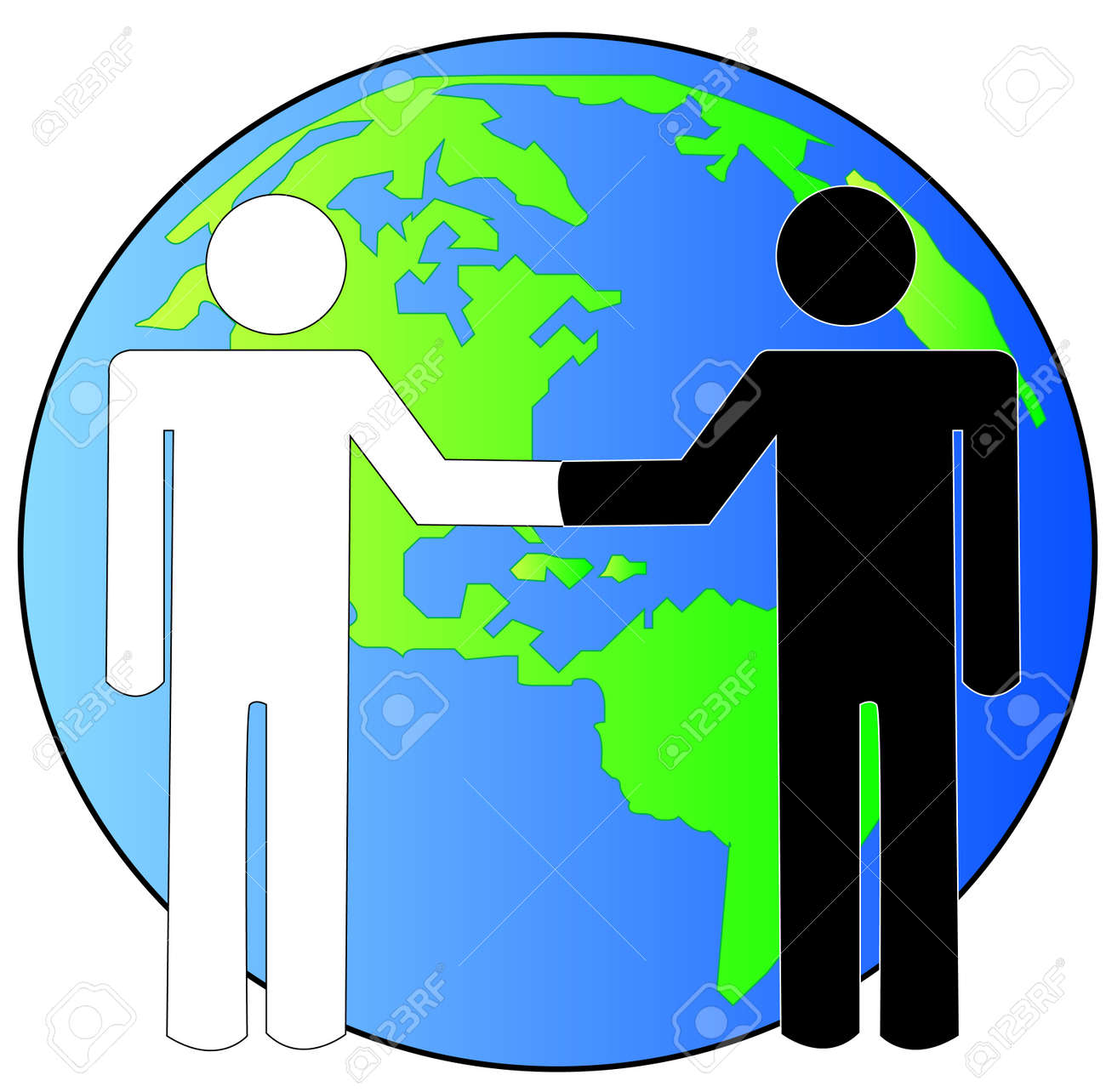 multi-cultural handshake with globe or earth behind - international business deal - vector Stock Vector - 2939586