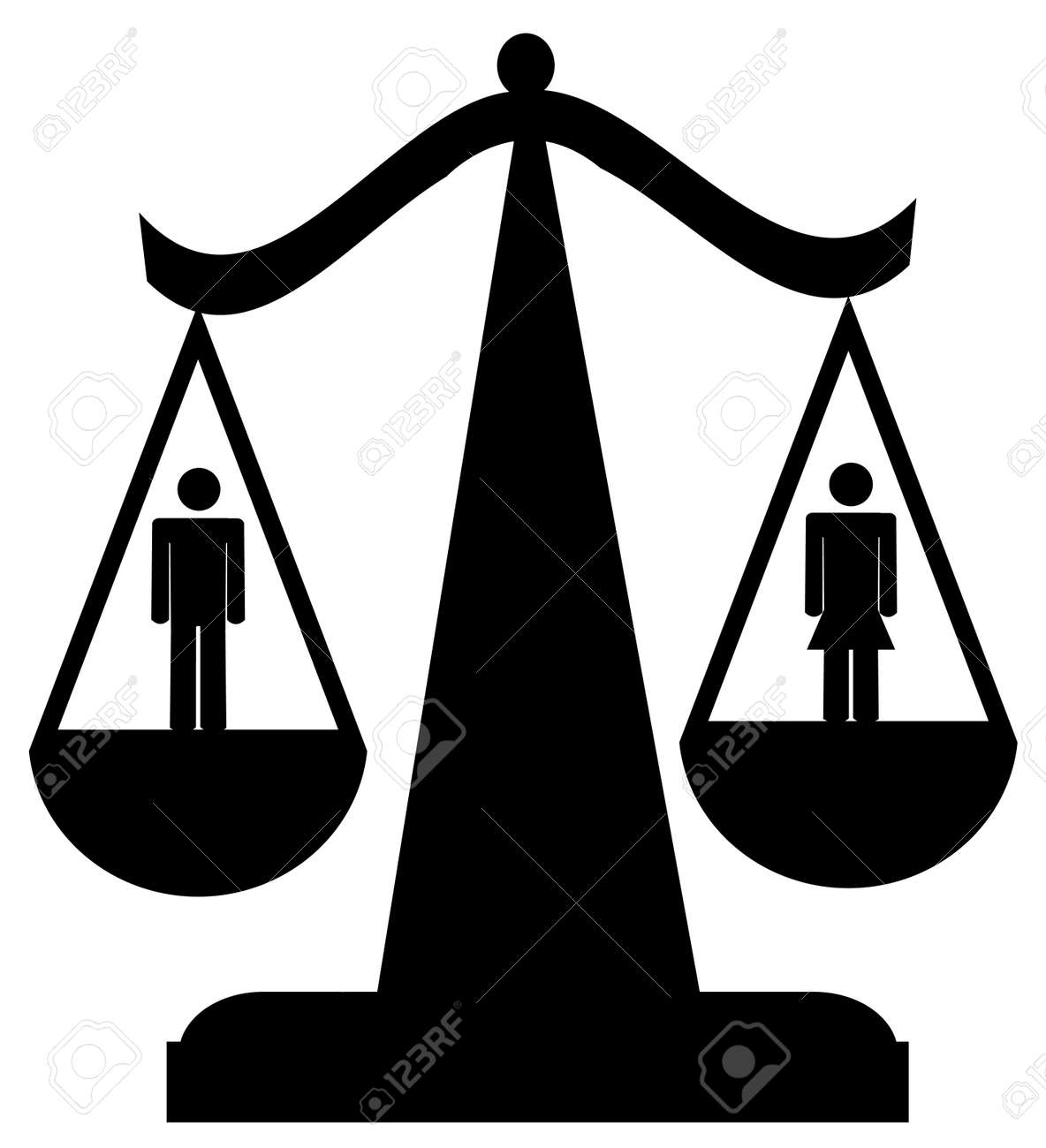 scales of justice with man and woman -  equality Stock Vector - 2946190