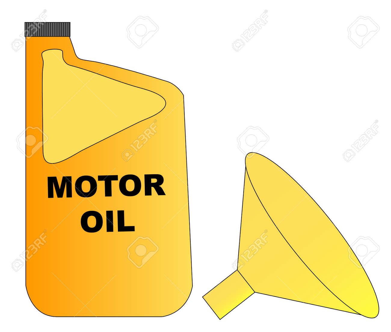 yellow plastic bottle of motor oil with funnel - vector Stock Vector - 3074814