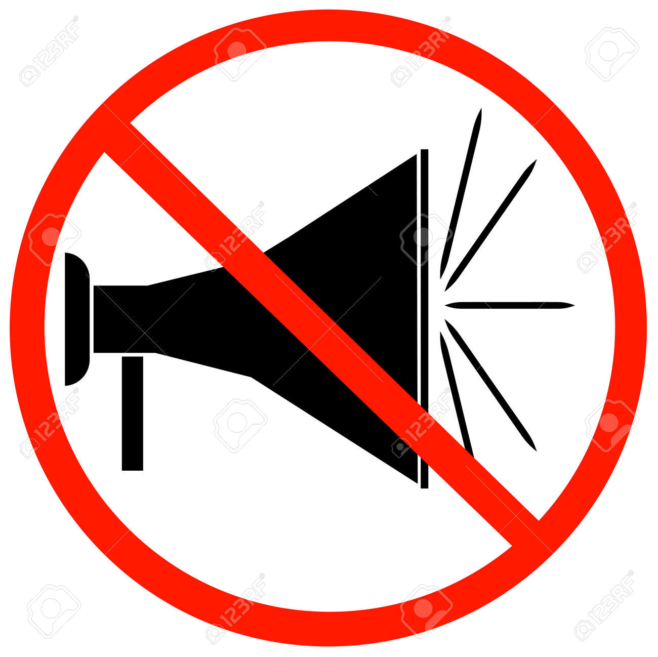 megaphone or bullhorn with red not allowed sign or symbol - vector Stock Vector - 3084463