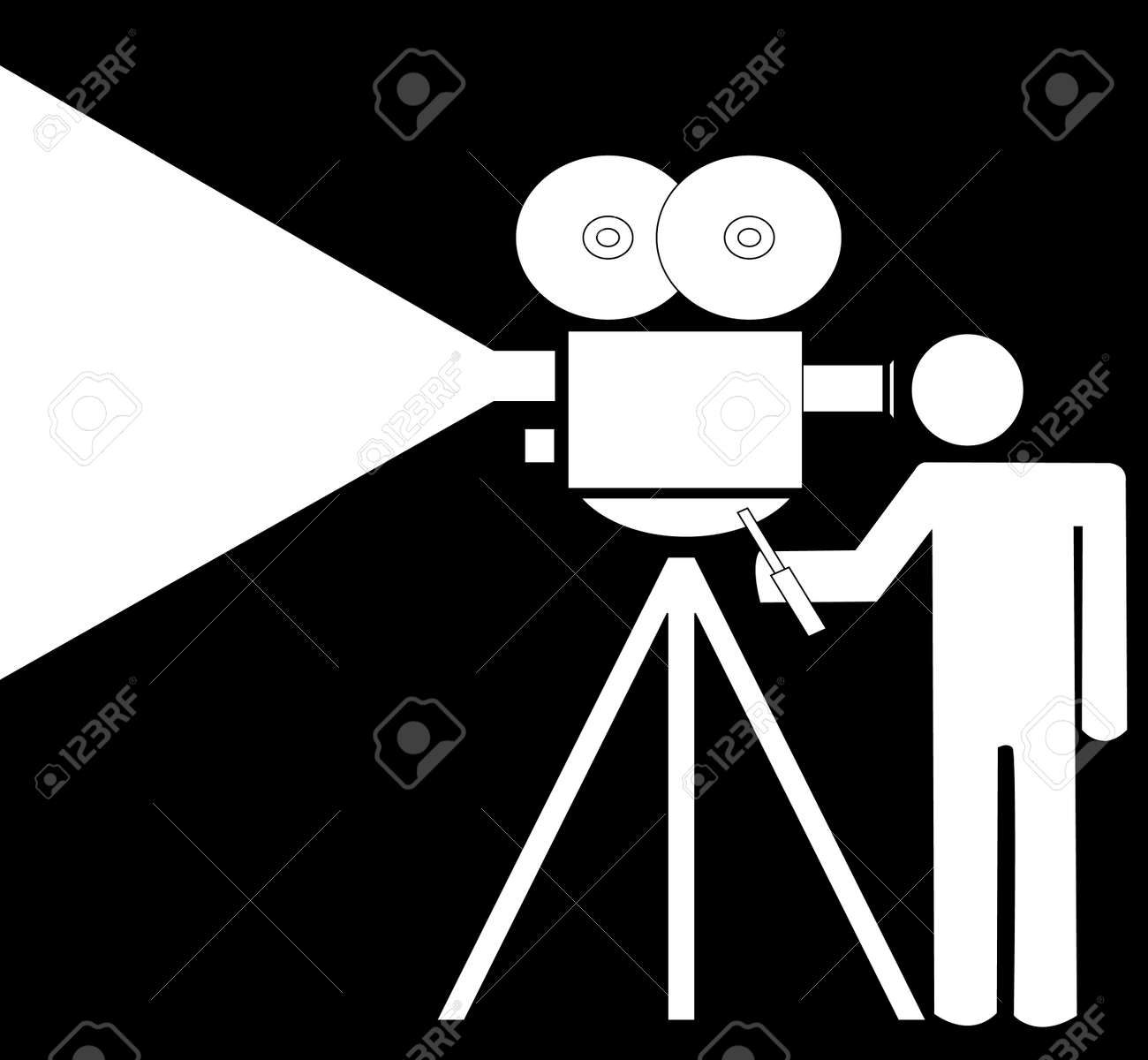 stick man or figure filming with a movie camera - vector Stock Vector - 3103684