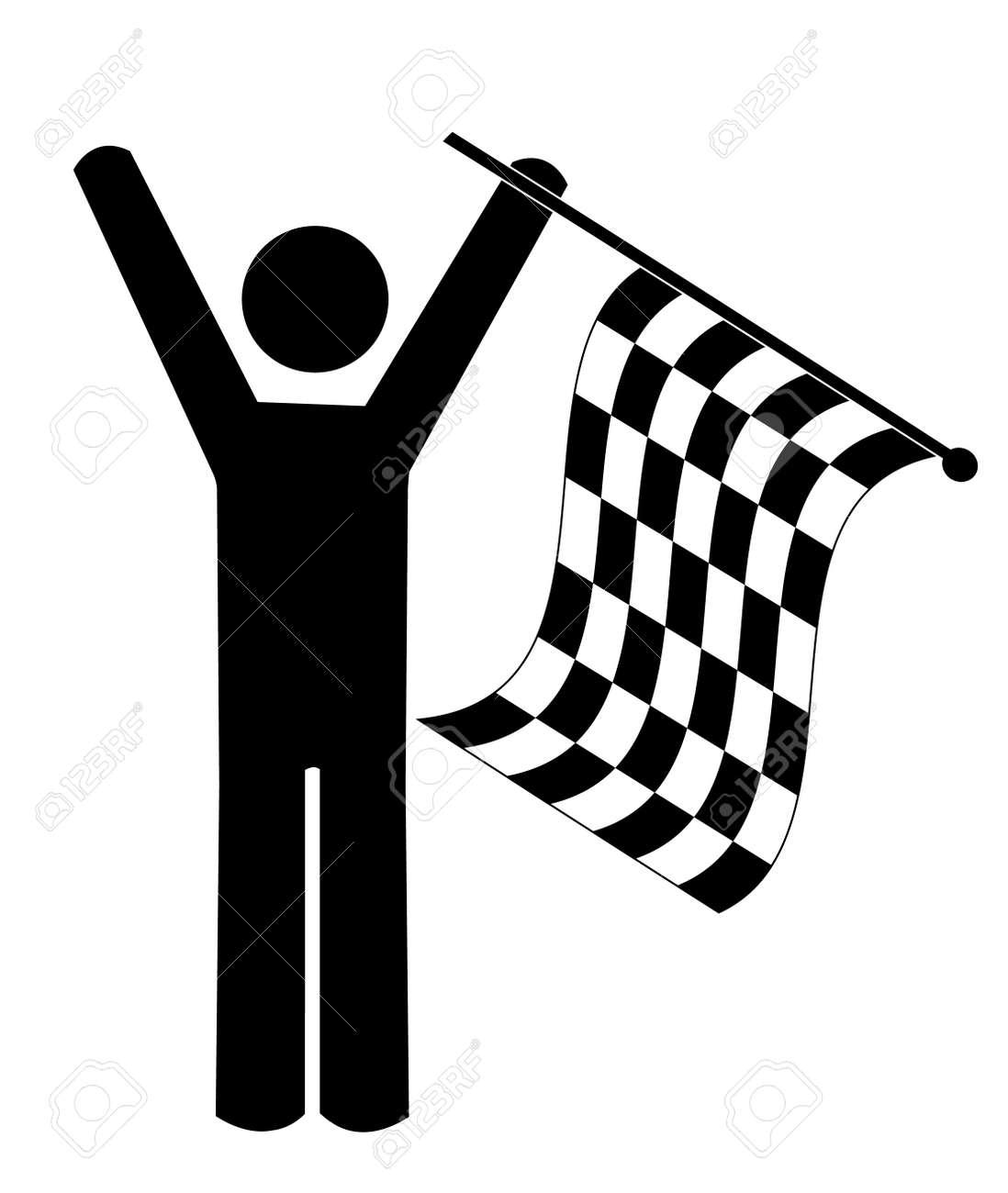 stick man or figure waving checkered flag - winner - vector Stock Vector - 3123101