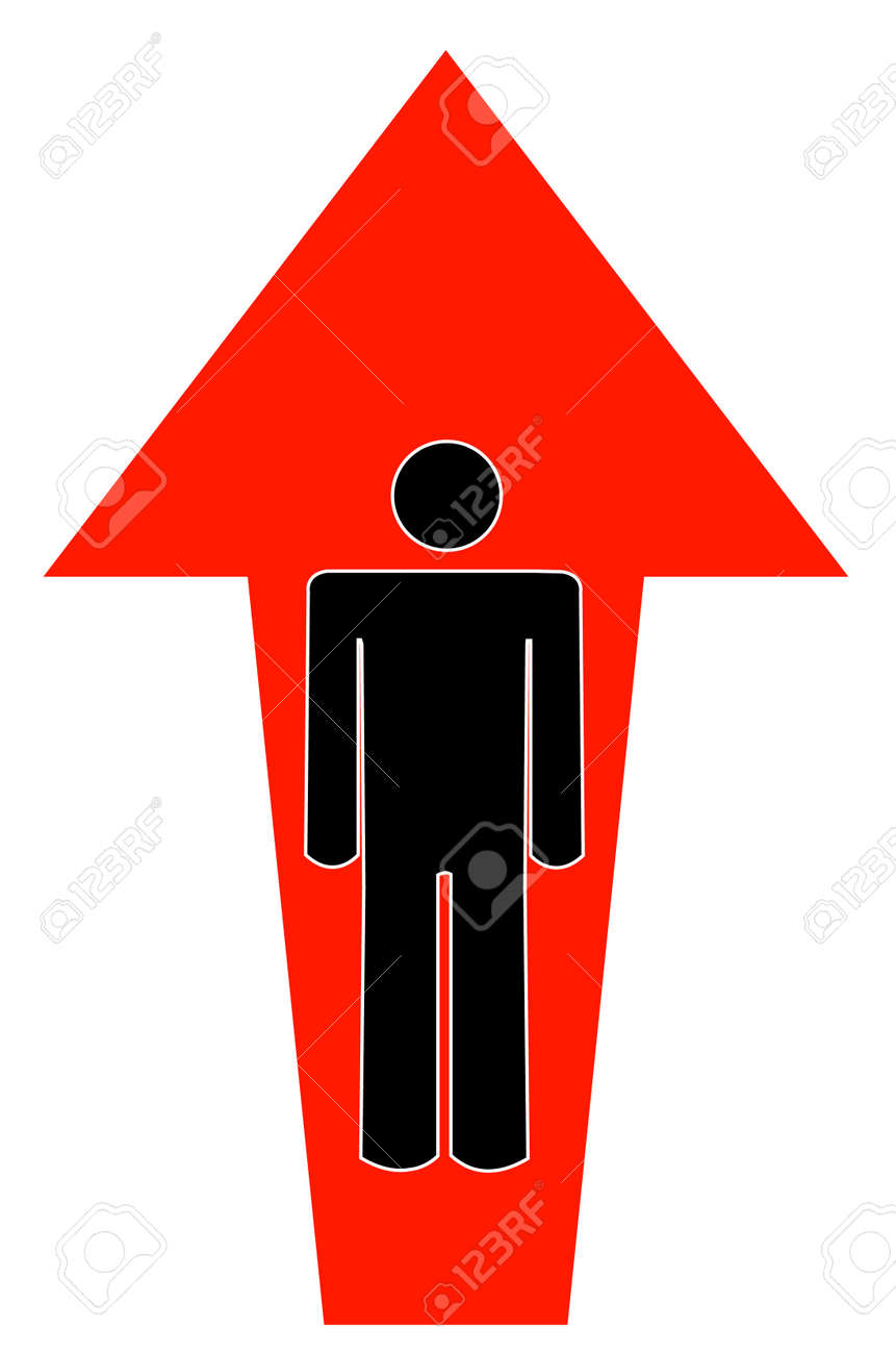 Stick Man Or Figure With Arrow Pointing Up Vector Royalty Free