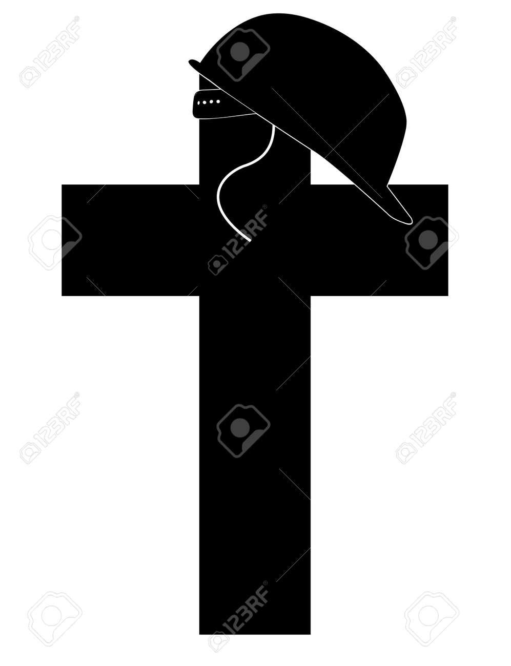 silhouette of soldiers helmet sitting on top of memorial cross