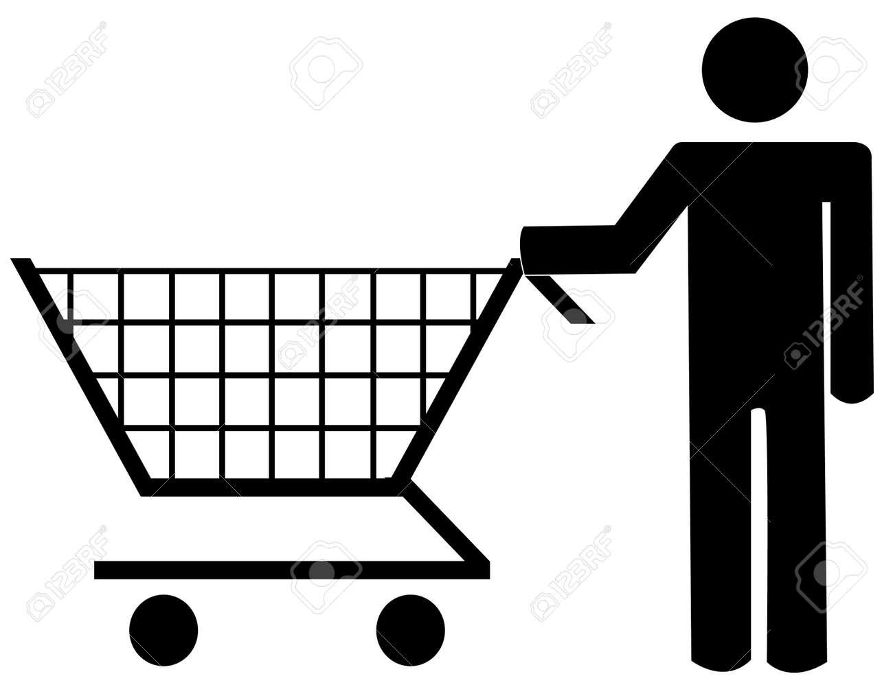 ショッピングカート ベクター イラストを押す人間図のイラスト素材